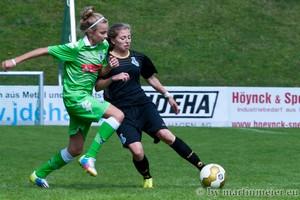 Knapp Kiste - Die Gladbacherinnen hatten den MSV Angriff in der Zwischenrundenbegegnung trotz der Niederlage sehr gut im Griff