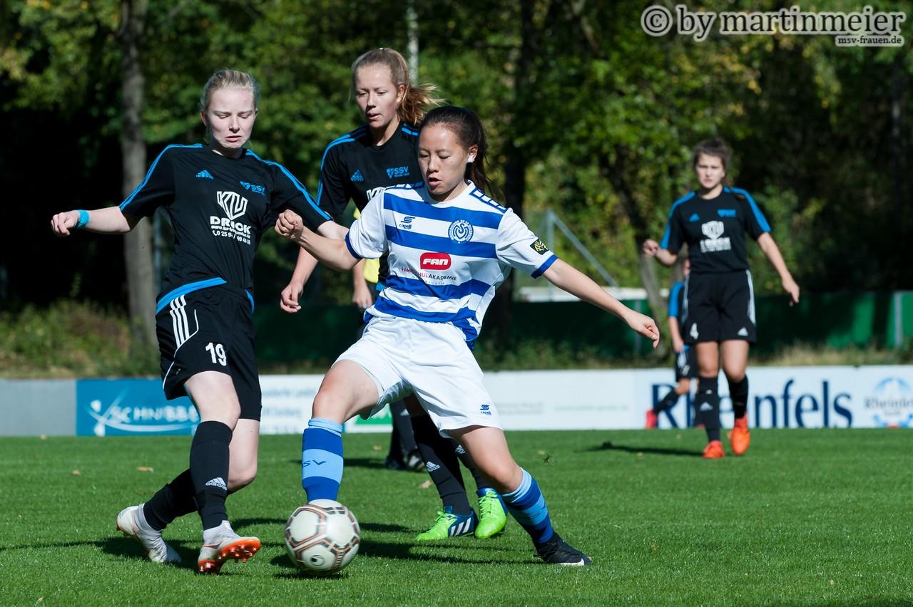 Einfach nur geil - Die MSV-Mädels feiern den 5:1 Auswärtssieg gegen Alemannia Aachen