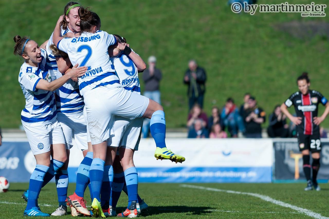Jubelbande - Die MSV-Frauen stehen in der Allianz Frauen-Bundesliga kurz vor dem Ziel Klassenerhalt